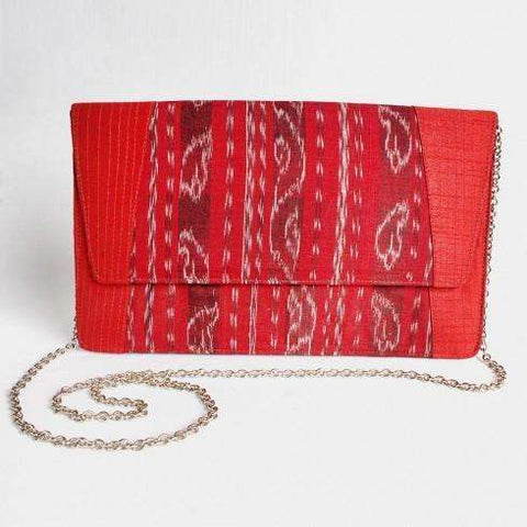 Red Silk Ikat Clutch With Chain Sling