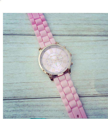 Silicone Band Three Eye Dial Watch Pink