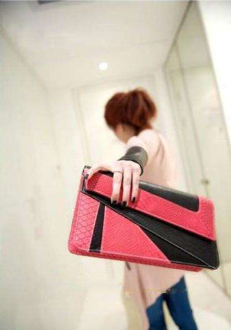 Snake Leather Purse - Pink
