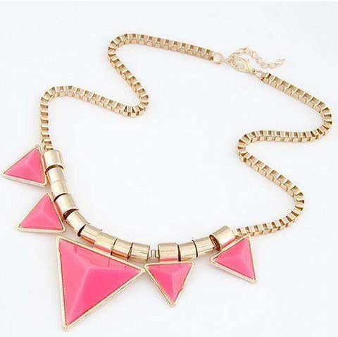 Triangle Choker Necklace Necklace Pink