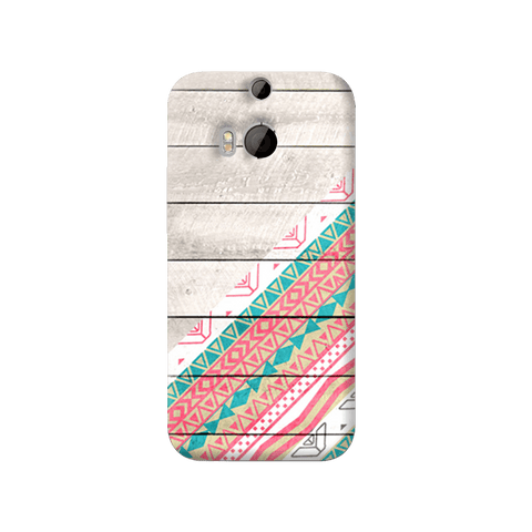 Tribal Aztec Wooden Teal HTC One M8 Case