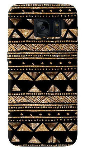 Vintage Gold Tribal Stripe Black   Samsung Galaxy S7 Edge Case