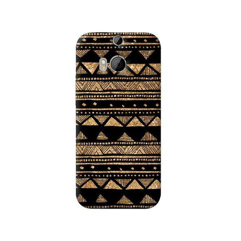 Vintage Gold Tribal Stripe Black  HTC One M8 Case