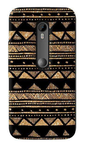 Vintage Gold Tribal Stripe Black  Motorola Moto G 3rd Gen Case