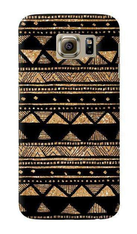 Vintage Gold Tribal Stripe Black  Samsung Galaxy S6 Case