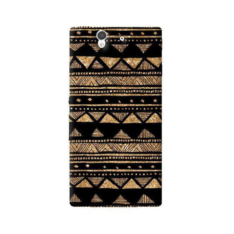 Vintage Gold Tribal Stripe Black Sony Xperia Z Case