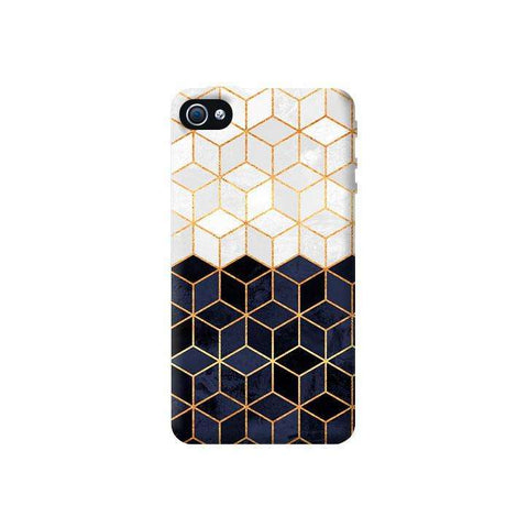 White & Navy Cubes Apple iPhone 4/4S Case