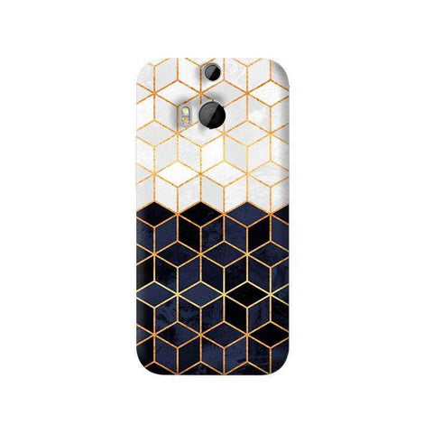 White & Navy Cubes HTC One M8 Case