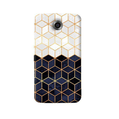 White & Navy Cubes Nexus 6 Case