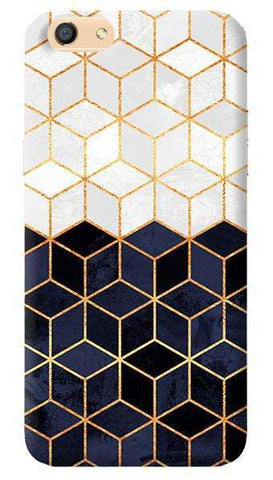 White & Navy Cubes Oppo F3 Case