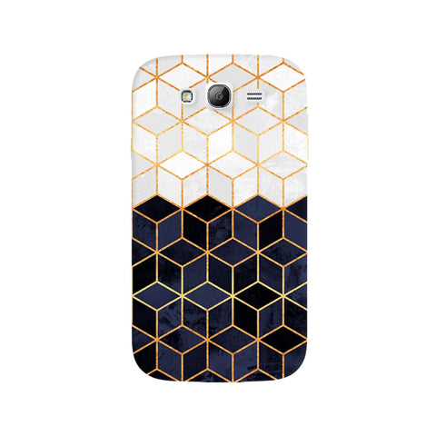 White & Navy Cubes Samsung Galaxy Grand Case
