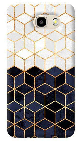 White & Navy Cubes Samsung Galaxy J7 Case