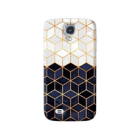 White & Navy Cubes Samsung Galaxy S4 Case