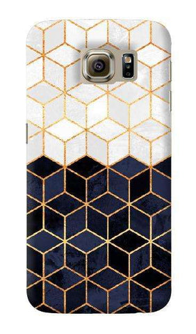 White & Navy Cubes Samsung Galaxy S6 Case