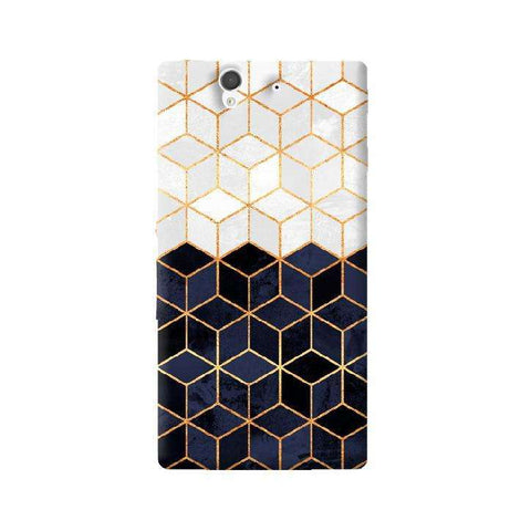 White & Navy Cubes Sony Xperia Z Case