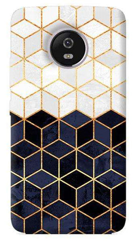White And Navy Cubes Motorola Moto G5 Plus Case