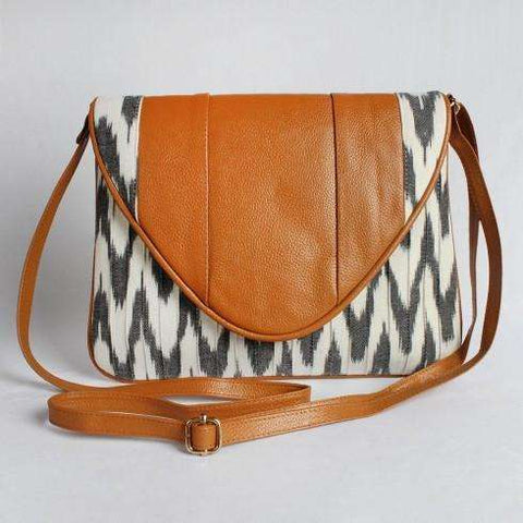 White Cotton Ikat Clutch With Leather Flap