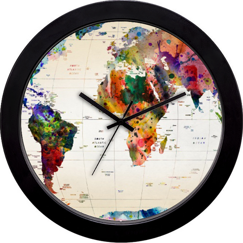 Buy cool funky wall clocks online in india cyankart world map wall clock gumiabroncs Gallery