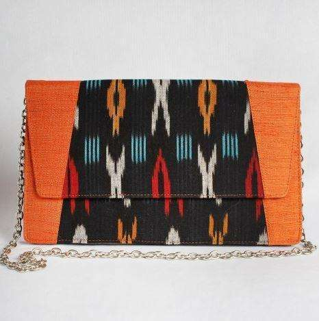 Yellow & Black Ikat Clutch With Chain Sling