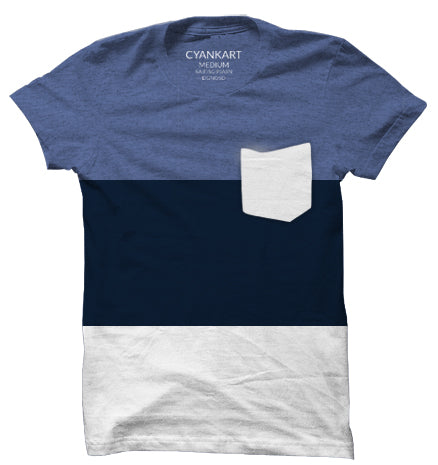 New York Melange Blue Panel T-Shirt