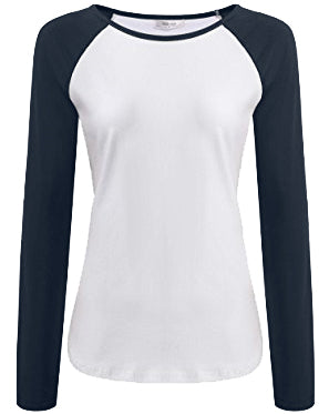 White and Navy Full Sleeves Raglan Women's T-Shirt