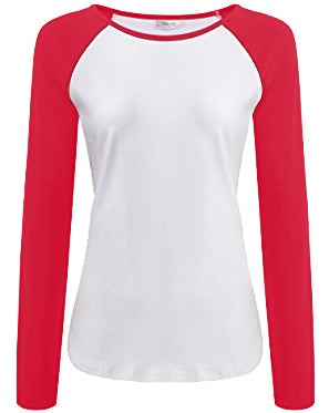 White and Pink Full Sleeves Raglan Women's T-Shirt