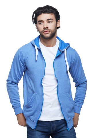 Light Blue Melange Zipper Hoodie