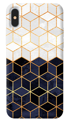 White & Navy Cubes iPhone X Cover