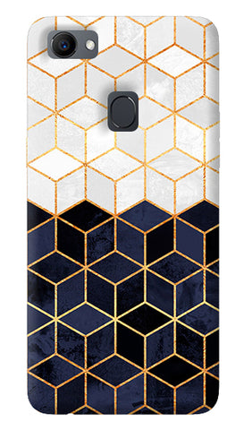 White & Navy Cubes Oppo F7 Cover