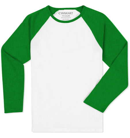 White and Green Full Sleeves Raglan T-Shirt