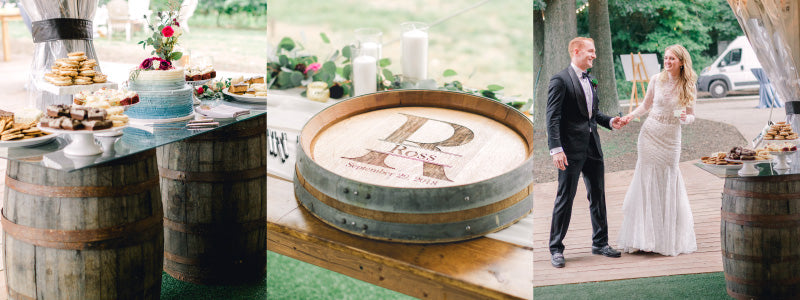 """Three pictures: 1) Full-size barrels with wedding desserts on glass tabletop 2) Laser-engraved barrel head with """"R"""" and name """"Ross"""" 3) Bride and groom near full-size barrel with glass tabletop"""