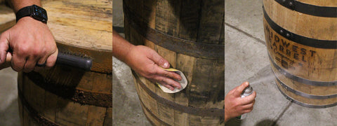removing rust from barrel rings, sanding barrel with sandpaper, spraying engraved barrel with protective coating