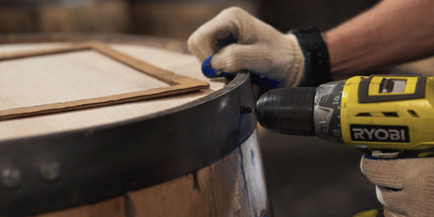 Securing ring to barrel stave with power drill