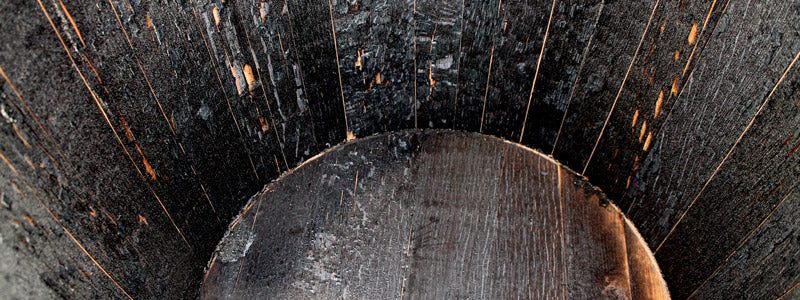 Charred interior of a whiskey barrel