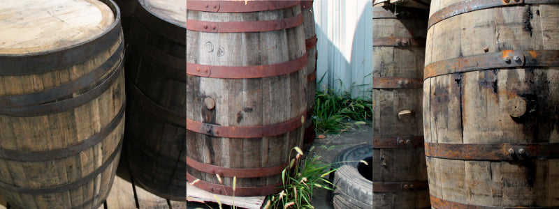 Three photos of different types of whiskey barrels