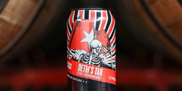 Can of Deth's Tar, a barrel-aged stout beer from Revolution Brewing, with drawing of skeleton waving a flag on the can.
