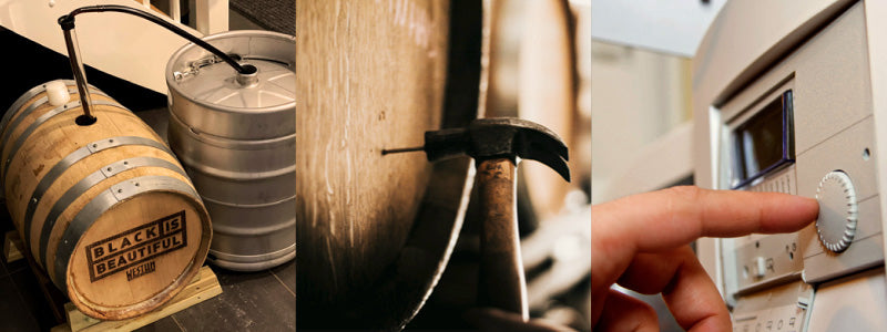 Three photos: Transferring barrel-aged beer at home, inserting a vinnie nail and setting a dial on a machine