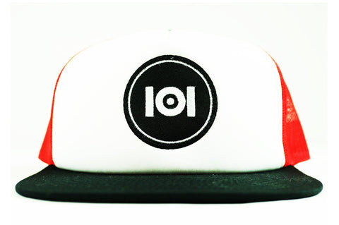 101 LOGO TRUCKER HAT - WHITE/RED/BLACK