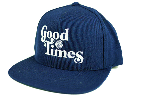 GOOD TIMES - 5 PANEL SNAP BACK HAT - NAVY