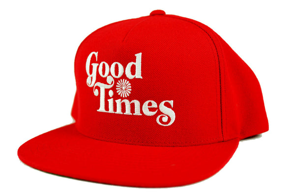 GOOD TIMES - 5 PANEL SNAP BACK HAT - RED