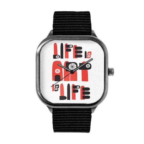 "LIMITED EDITION ""LIFE IS ART IS LIFE"" METAL WATCH"