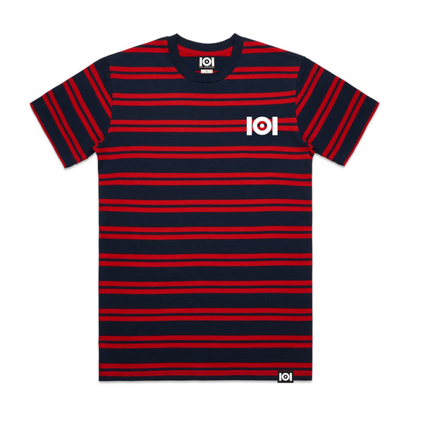 101 LINE STRIPE TEE NAVY/RED