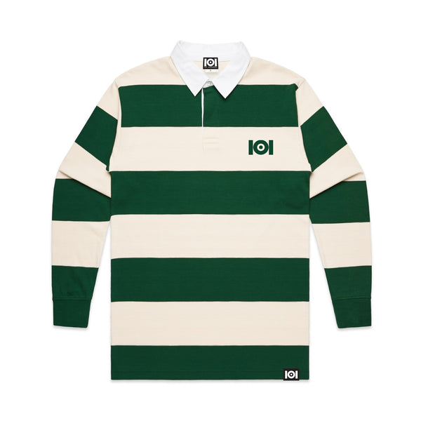 101 STRIPE RUGBY JERSEY GREEN/NATURAL