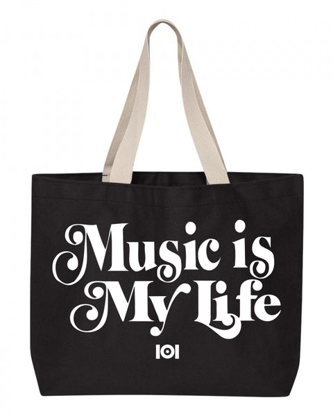 MUSIC IS LIFE IS MUSIC TOTE BAG - BLACK