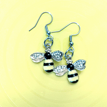 Load image into Gallery viewer, 1 Pair of Bee Themed Earrings with PDF cards and extras