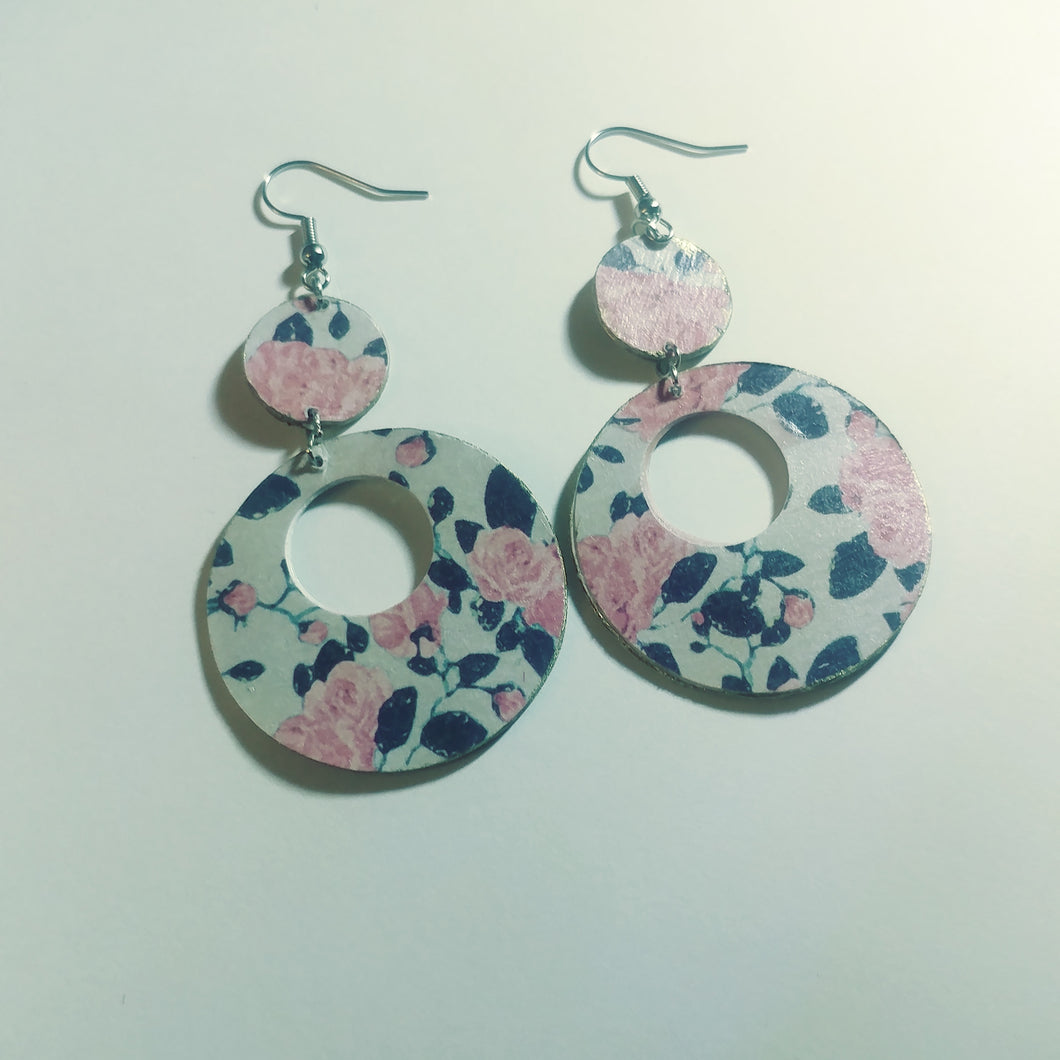 Two tiered floral circle dangle earrings