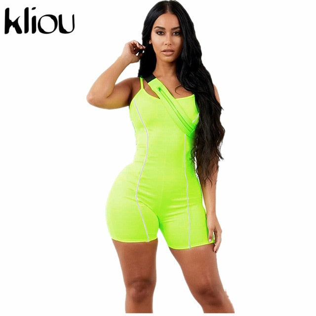 Sexy Strapless Playsuit Neon Color  Reflective Striped Patchwork Strap Backless