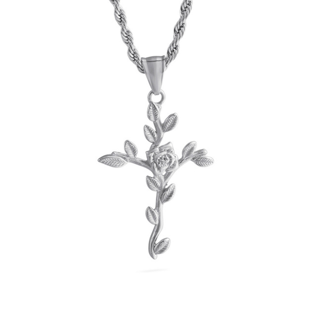 Rose & Cross Sterling Silver Necklace
