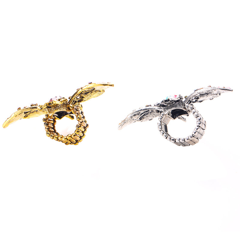 Colorful Crystal Stone Inlaid Anti Gold Silver Color Metal Bee Rings