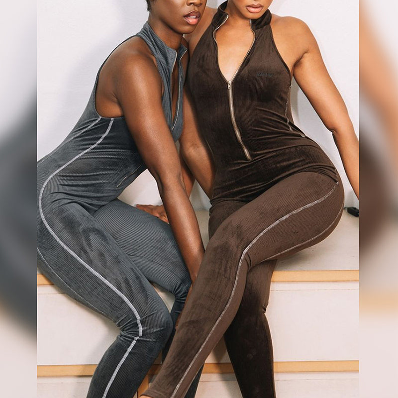 t Fitness Zipper Sleeveless Stripe Long Jumpsuit